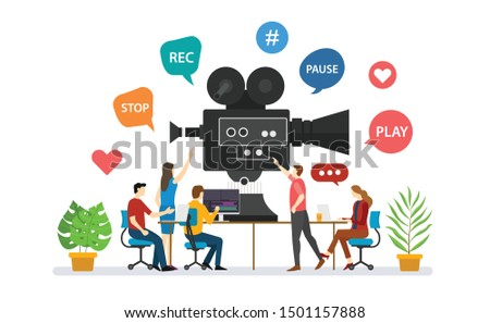team video production for film making with people discussion together with modern flat style - vector