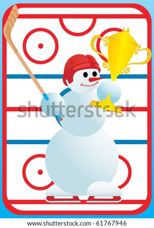 Team winter sport. Hockey hockey. Snowman-winner