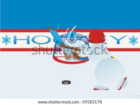 Team winter sport. Ice Hockey. Snowmen-hockey players
