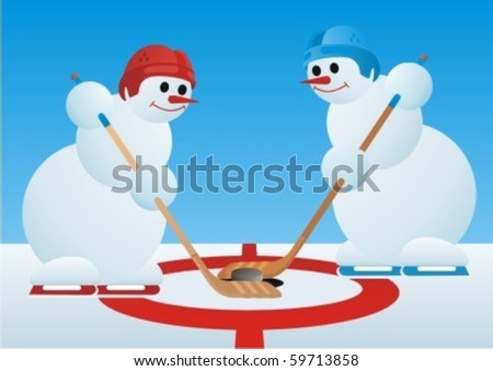 Team winter sport. Ice Hockey. Snowmen-hockey players