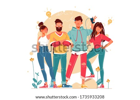 Team with young men and women with glasses and smartphone. Concept male and female characters in teamwork, friends relationship using modern device. Vector illustration.