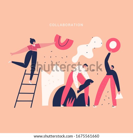 Team work and mutual help vector illustration. Partners, colleagues, people with geometric shapes doodle drawing. Collaboration concept. Coworkers, managers isolated flat characters