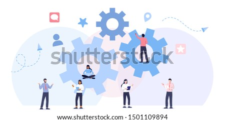 Team work business mechanism, gears, people are engaged in business promotion, strategy analysis, communication. leadership, direction to a successful path,career planning, career development