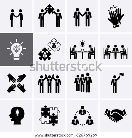 Team Work, Career and Business Process Icons. Vector human resource management