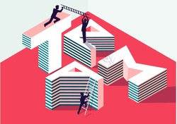 Team work concept with isometric 3D sign