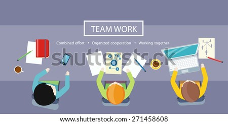 Team work coworking concept. Co-working item icons. Business meeting top view in flat design. Shared working environment. Combined effort, organized cooperation and working together concept