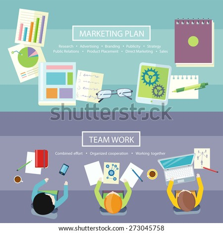 Team work coworking concept. Co-working item icons. Business meeting top view in flat design. Notebook with text marketing plan, research, advertising, branding, publicity, strategy, public relations