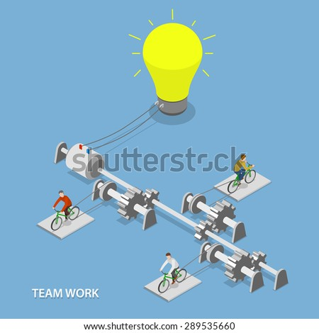 Team work flat isometric vector concept. Group of people are using bikes together to light the bulb lamp.