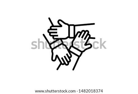 Team Work 3 hands outline icon. Elements of Business illustration Vector Line Sign. Symbol can be used for web, UI, logo, mobile app. Editable Stroke. 1216x1216 Pixels