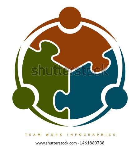 Team work infographic symbol concept illustration having 3 circles and puzzle interlocking shape - Vector