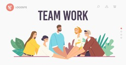 Team Work Landing Page Template. Colleagues Character Connecting Hands to Support Each Other. Successful Business People, Office Team Bonding and Teamwork Support Concept. Cartoon Vector Illustration