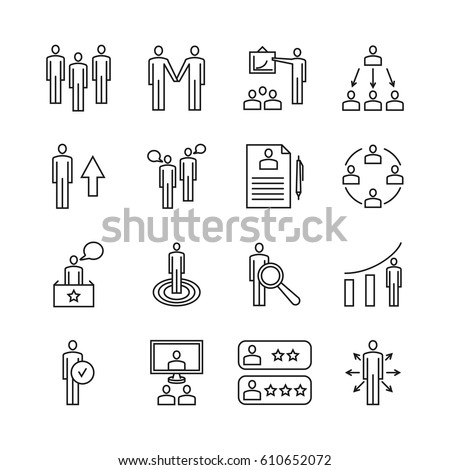 Team work line icons and management linear vector signs. Business management icons, illustration business teamwork.