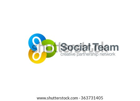 Team work Social Logo design vector template. Three men holding hands.