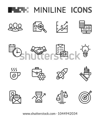team work start up minimal flat line icons