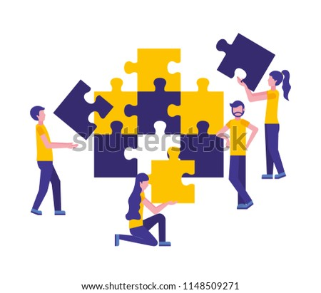 team work with puzzle pieces