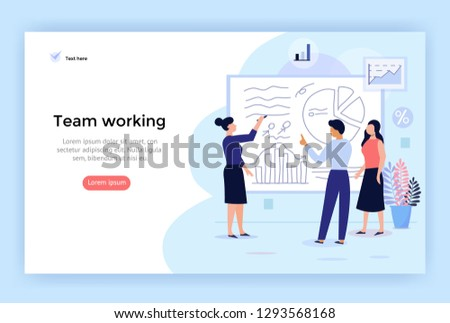 Team working concept illustration, perfect for web design, banner, mobile app, landing page, vector flat design