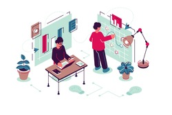 Team working in modern office vector illustration. Creating idea. Guys work on laptop and interactive whiteboard. Teamwork and teambuilding flat style design