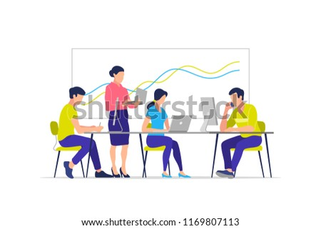 Team working in the office at the computers for online internet business or start up - men and women sitting at the desktop. Vector illustration.