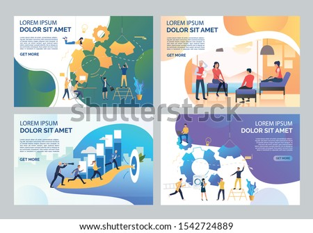 Team working on project set. Businesspeople building mechanism, running to goal, discussing. Flat vector illustrations. Business concept for banner, website design or landing web page