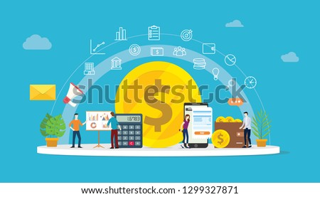 team working to growth money finance with gold coin dollar icon and business icons - vector illustration