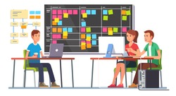 Team working together on a big IT startup business. Programming and planning. Scrum task board hanging in a team room full of tasks on sticky note cards.  Flat style color modern vector illustration.