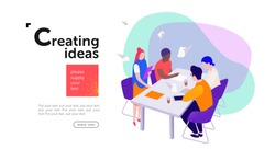 teamwork, a group of businessmen sit at a table and create new ideas for a start-up, communicate among themselves in the areas of marketing, design and advertising, vector flat isometry illustration