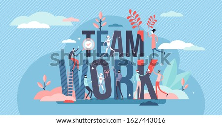 Teamwork activity concept, tiny person vector illustration. Mutual business goals and putting strengths together for more productive work and growth. Cooperation between humans and AI robot machines.