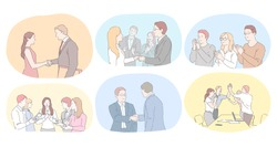 Teamwork, agreement, development in office concept. Business people partners coworkers shaking hands after successful negotiations, applauding for colleagues success and making agreements illustration