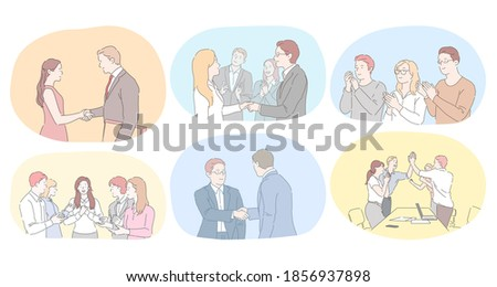 Teamwork, agreement, development in office concept. Business people partners coworkers shaking hands after successful negotiations, applauding for colleagues success and making agreements illustration Foto d'archivio ©