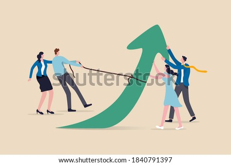 Teamwork and collaboration colleagues, togetherness and support each other to achieve business goal concept, group of businessmen and women office workers help and support to pull arrow rising up. Photo stock ©