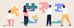Teamwork and collaboration concept with four diverse multiracial people with puzzle pieces trying to find a solution together, flat cartoon colored vector illustration. Business metaphor