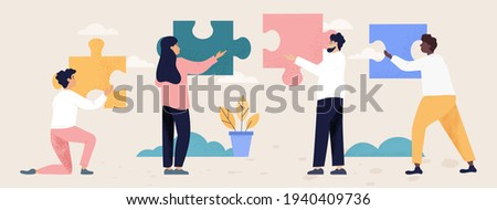 Teamwork and collaboration concept with four diverse multiracial people with puzzle pieces trying to find a solution together, flat cartoon colored vector illustration. Business metaphor Photo stock ©