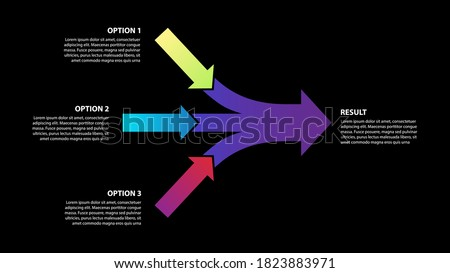 Teamwork and Focus on Results - 3 in 1 Horizontal Converging Arrows on black backgroung, Vector Infographic
