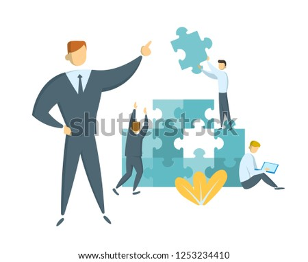 Teamwork and leadership concept. Leader guiding his team towards success. Businessmen with giant puzzle pieces. Partnership and collaboration. Flat vector illustration. Isolated.