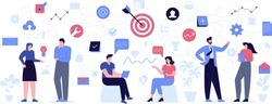 Teamwork and office team building concept. Employees at business meetings, work on project together. Targeting, data analytics, successful strategy, growth profit icons. Vector character illustration
