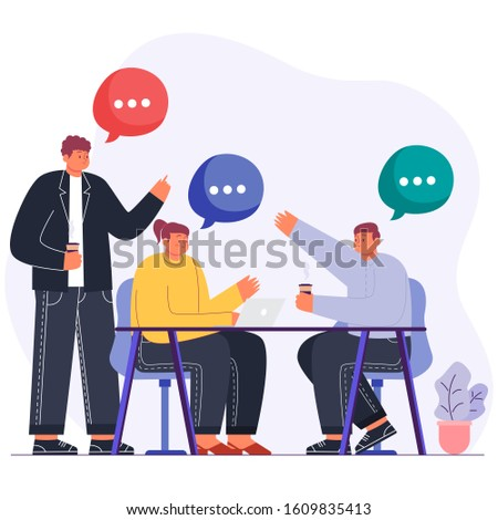 Teamwork and startup discussions vector illustration