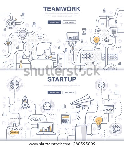 Teamwork and startup. Doodle design style concept of building new business, SEO, teamwork and management, company processes. Modern concepts for web banners and printed materials