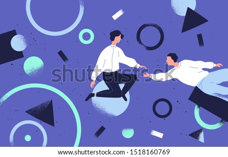 Teamwork and support flat vector illustration. Coworkers cartoon characters and abstract geometrical shapes. Coworking and business partnership concept. Businessmen and businesswomen cooperation.