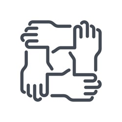 Teamwork and Support line vector icon. Solidarity and Collaboration outline isolated icon.