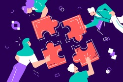 Teamwork and team building flat design vector illustration. Coworkers assembling jigsaw puzzle cartoon characters. Coworking and business partnership concept. Businessmen and businesswomen cooperation