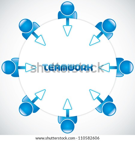 Teamwork around the table.Business vector