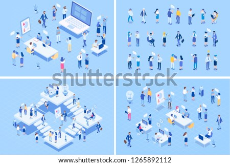 Teamwork big vector set. Isometric Office people. Office workspace with people working together. Flat vector illustration.