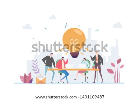 Teamwork Brainstorming Vector Illustration Concept Showing Creative People Having Discussion Fighting For Ideas, Suitable for landing page, ui, web, mobile app intro card, editorial print, flyer, and