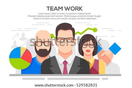 Teamwork. Business concept. Team work concept illustration. Business people teamwork, human resources, career opportunities, team skills, management.