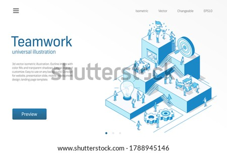 Teamwork. Business people office work. Team success, communication modern isometric line illustration. Partnership, employee collaboration, trophy award icon. 3d vector. Growth step infograph concept