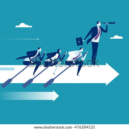 Teamwork. Business persons rowing on the white arrow sign. Business concept vector illustration
