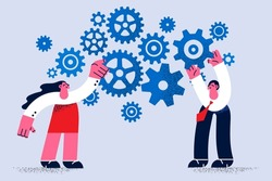 Teamwork, business work collaboration concept. Two young people business colleagues man and woman standing fixing working gears together uniting efforts vector illustration