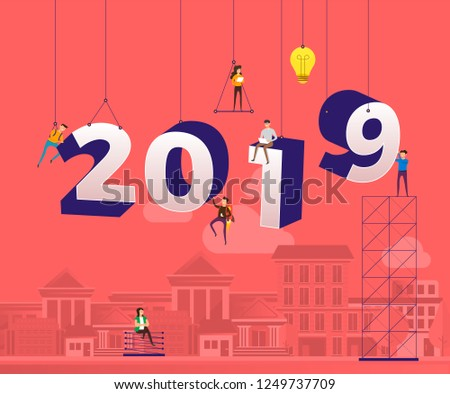 teamwork businessman  working together building typographic number 2019 for happy new year design template. Greeting card illustrations. Vector illustrate.