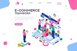 Teamwork career on analysis, management, consulting and marketing. Modern solution for business app and data. Template for project navigation workflow or menu. Software for e-commerce, responsive ui.