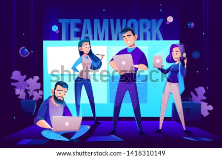 Teamwork characters, operator and crew in front of screen for presentations. Men with tablet and woman with pen and headset presenting new project, office worker, employee. Cartoon vector illustration